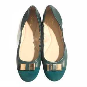 Coach Suede Leather Ballet Flats Gold Bow Green